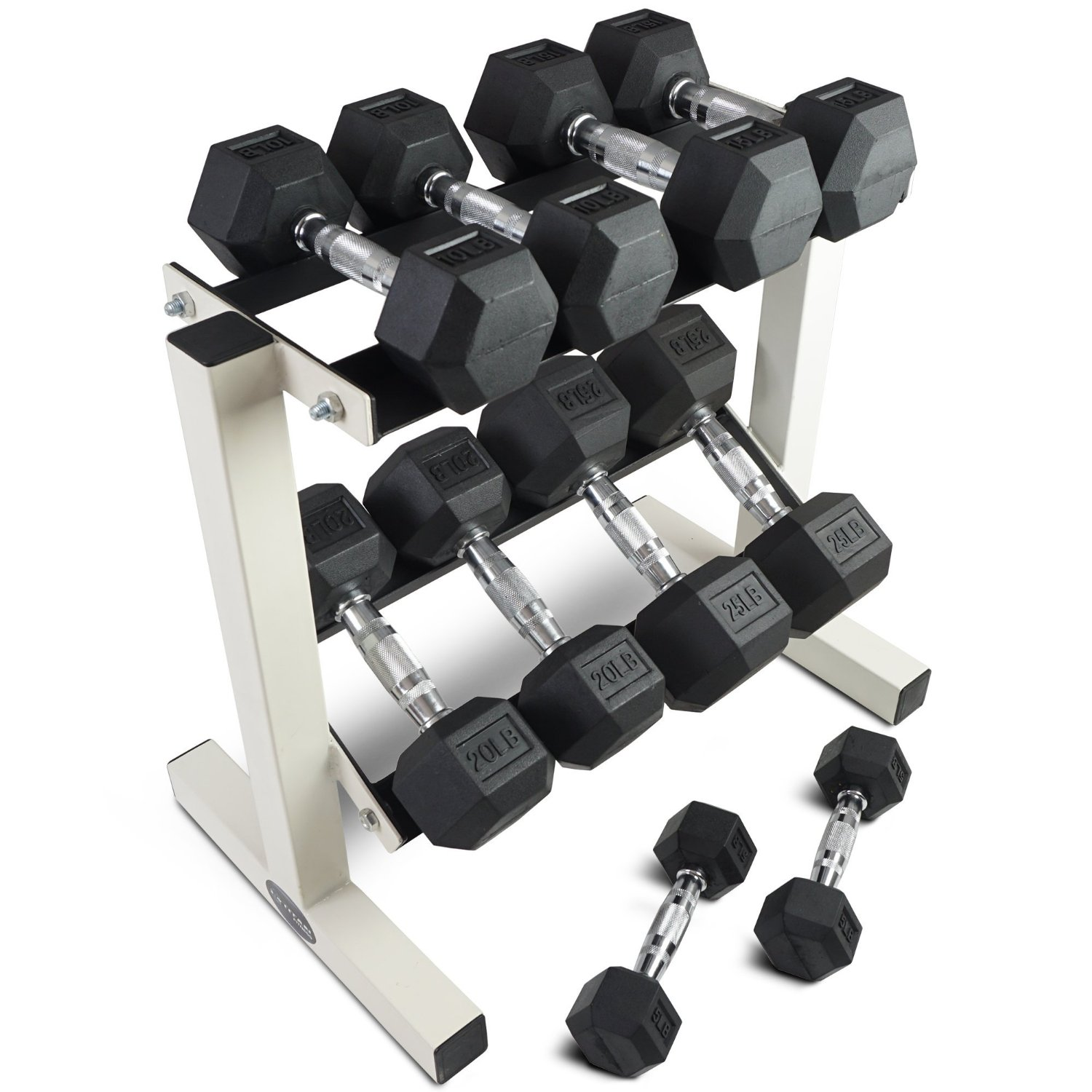 Rubber Coated Hex Dumbbell Weights Training Set w Rack 5 - 25 lb Titan Fitness