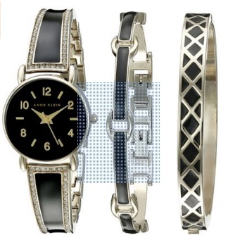 Anne Klein Women's AK-2052BKST Swarovski Crystal Accented Gold-Tone and Black Bangle Watch with Bracelet Set