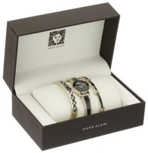 Anne Klein Women's AK-2052BKST Swarovski Crystal Accented Gold-Tone and Black Bangle Watch with Bracelets