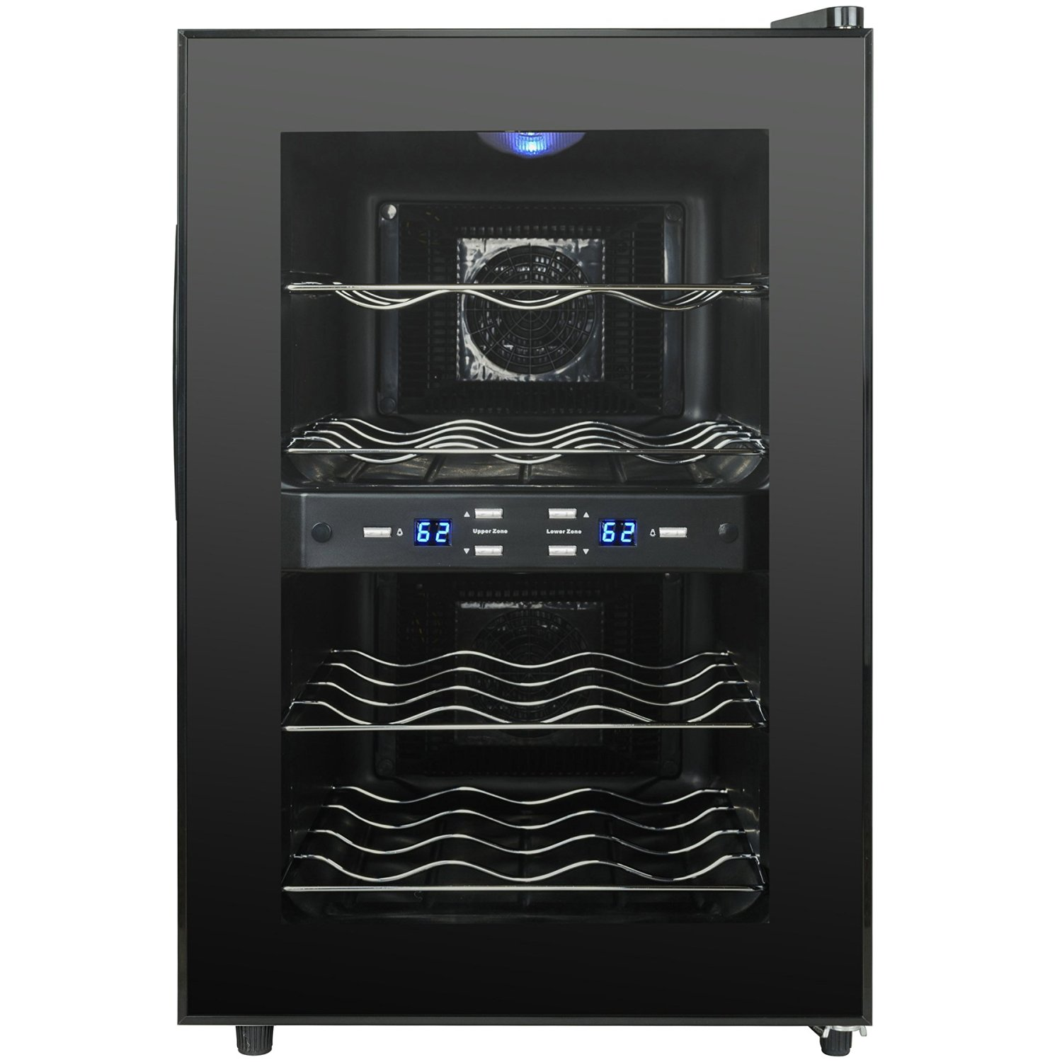 AKDY 12 Bottles Dual Zone Black Finish Reversible Doors