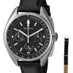 Bulova Men's 96B251 Chronograph Stainless Steel and Leather Special Edition Moon Watch