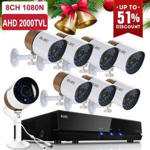 ELEC 8CH Channel 1080N AHD HDMI DVR 720P 2000TVL Home CCTV Video Security Camera System