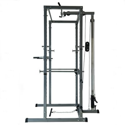 Akonza Athletics Fitness Power Rack with Lat Pull Attachment and Weight Holder Exercise