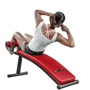GYM QUALITY Premium Adjustable Curved Sit Up Bench Crunch Board Ab Bench Slant Board