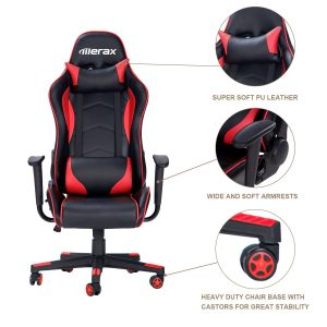 Merax Racing Style Gaming Chair Ergonomic Design High- Back PU Leather