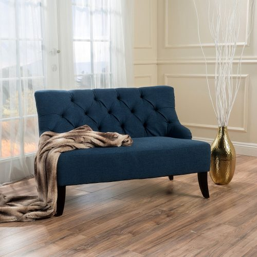 Nicoletta Deep Blue Fabric Settee