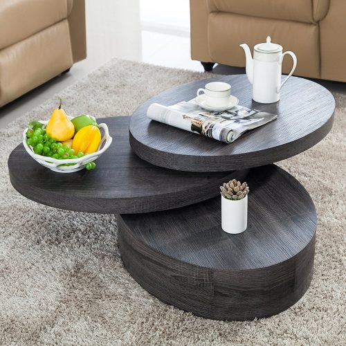 VIRREA Oak Round Rotating Wood Coffee Table with three Layers
