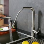 CREA Brushed Nickel Kitchen Sink Faucet sprayer