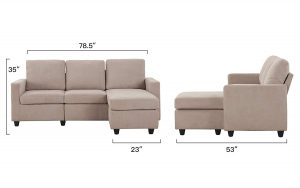 HONBAY L-Shaped Convertible Sectional Sofa and Ottoman