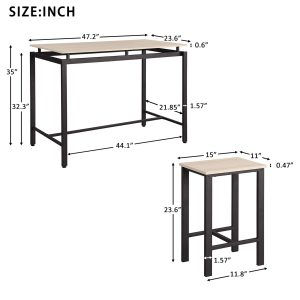 Rockjame 5 Piece Counter Height Pub Table Set