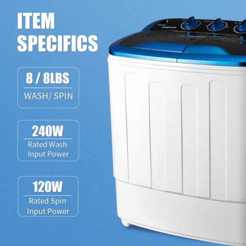 HOMHUM Portable Mini Compact Twin Tub Washing Machine