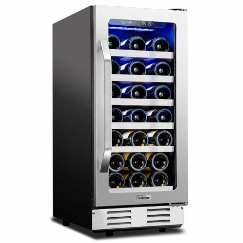 """Ivation 31-Bottle 15"""" Built-In Compressor Wine Cooler"""