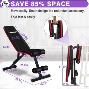 LINODI Adjustable Foldable Weight Bench