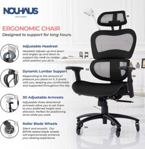 NOUHAUS Ergo3D Ergonomic Office Chair with 3D armchair