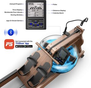 jwcfitness rowing machine ash wood bluetooth monitor