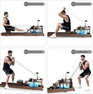 jwcfitness rowing machine ash wood